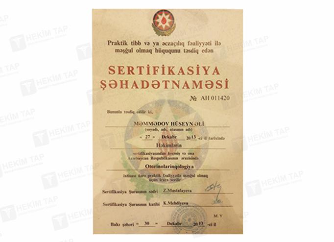 Дипломы и сертификаты Гусейн  Мамедов hekimtap.az