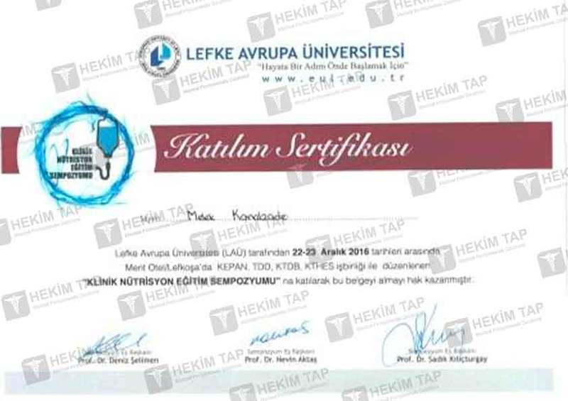 Diplomas and Certificates Melek  Kamalzade hekimtap.az