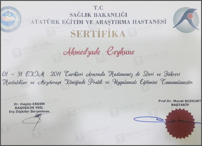 Дипломы и сертификаты Джейхуна Ахмедзаде hekimtap.az