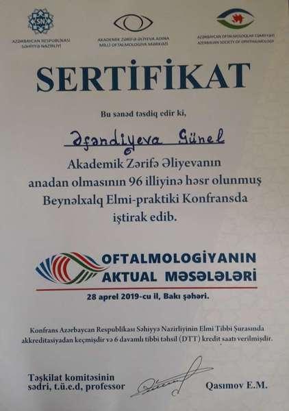 Diplomas and Certificates Günel Əfəndiyeva hekimtap.az