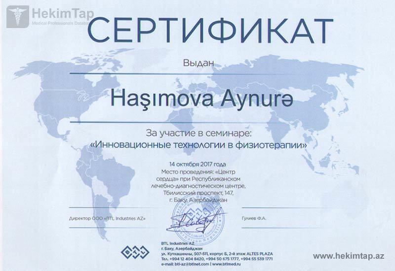 Dimplomlar və sertifikatlar Fizioterapevt Aynurə