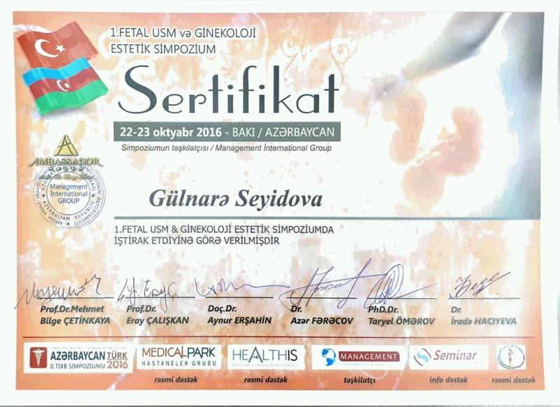 Diplomas and Certificates Gulnare  Seyidova hekimtap.az