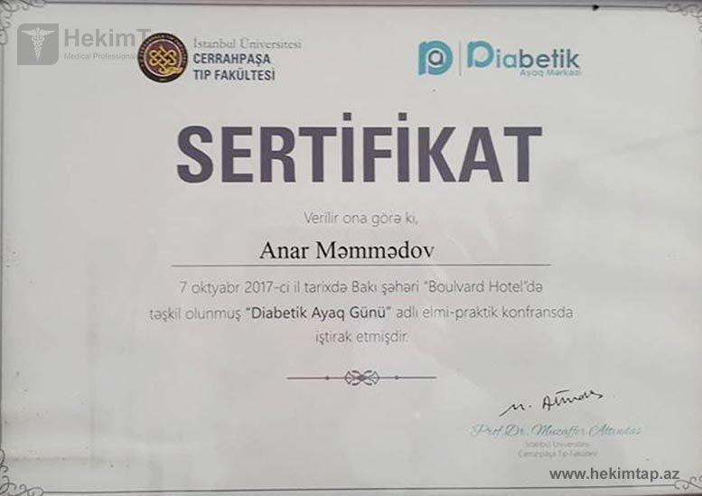 Дипломы и сертификаты Анар  Мамедов hekimtap.az