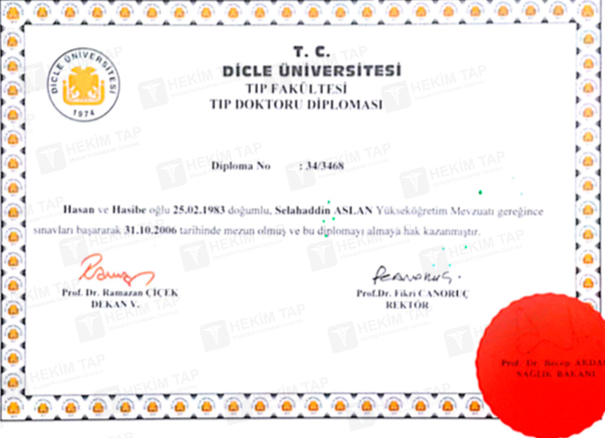 Dimplomlar və sertifikatlar Selahaddin Aslan hekimtap.az