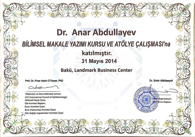 Diplomas and Certificates Anar  Abdullayev hekimtap.az