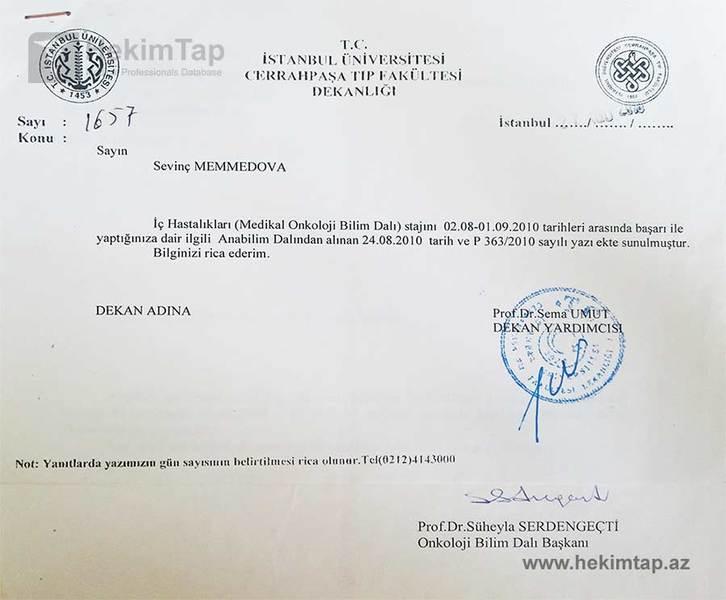 Dimplomlar və sertifikatlar Sevinc Məmmədova hekimtap.az