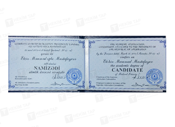 Dimplomlar və sertifikatlar Elçin Mustafayev  hekimtap.az