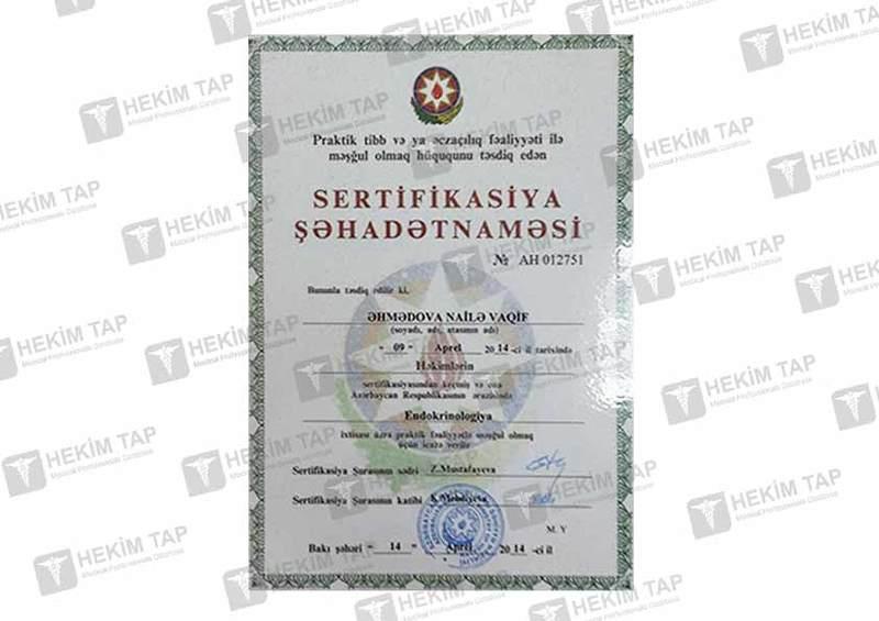 Dimplomlar və sertifikatlar Nailə Əhmədova  hekimtap.az