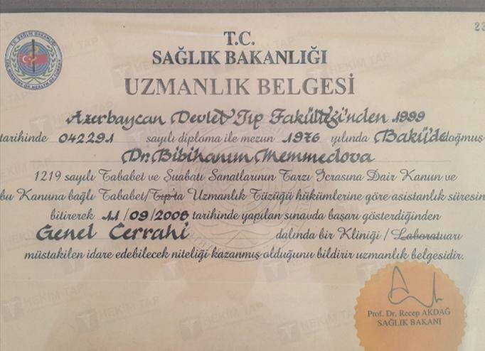 Dimplomlar və sertifikatlar Bibixanım Məmmədova hekimtap.az