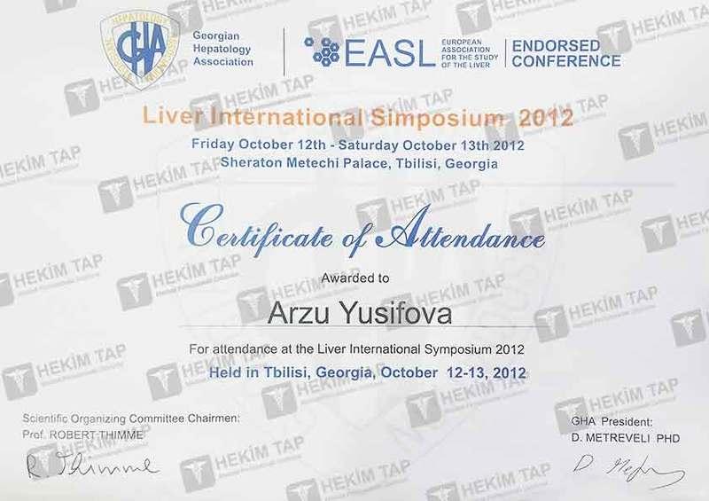 Diplomas and Certificates Arzu  Yusifova hekimtap.az