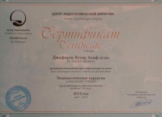 Dimplomlar və sertifikatlar Vüqar Cəfərov hekimtap.az
