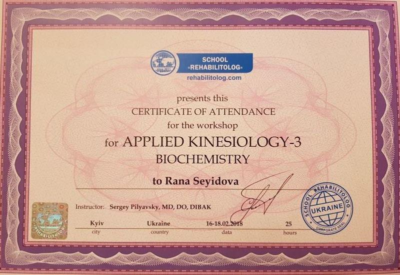 Diplomas and Certificates Rena Seyidova hekimtap.az