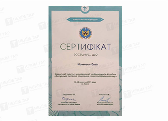 Dimplomlar və sertifikatlar Emin Novruzov hekimtap.az
