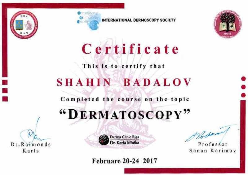 Дипломы и сертификаты Шахин  Бадалов hekimtap.az