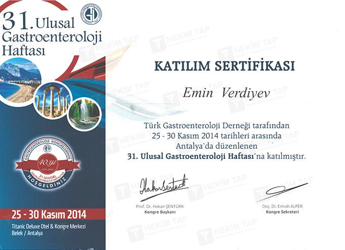 Dimplomlar və sertifikatlar Emin  Verdiyev hekimtap.az