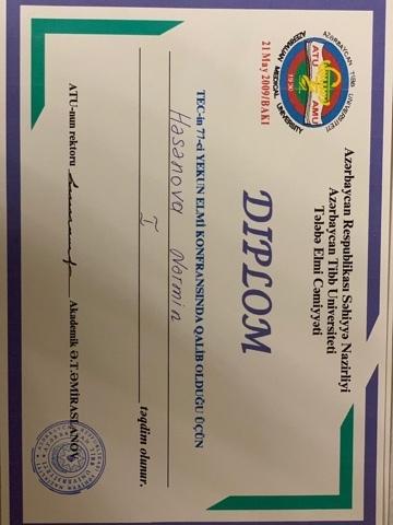 Dimplomlar və sertifikatlar Nərmin  Həsənli hekimtap.az