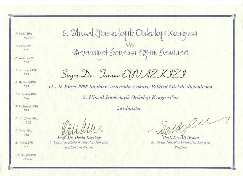 Dimplomlar və sertifikatlar Təranə Bayramova hekimtap.az