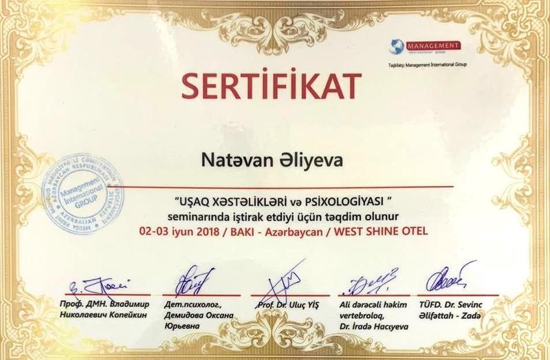 Dimplomlar və sertifikatlar Natəvan Əliyeva hekimtap.az