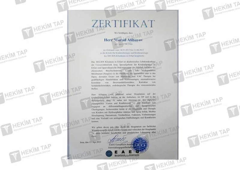 Дипломы и сертификаты Мурад  Алибеков hekimtap.az
