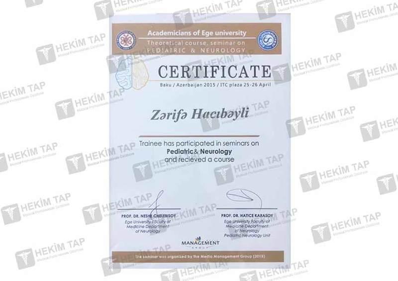 Dimplomlar və sertifikatlar Zərifə  Hacıbəyli hekimtap.az