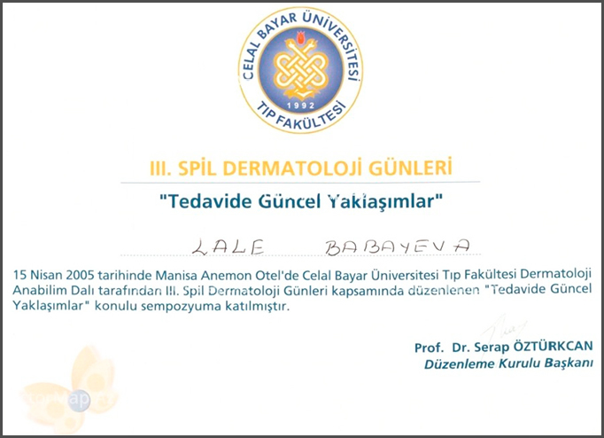 Diplomas and Certificates Lala  Jahangirova hekimtap.az