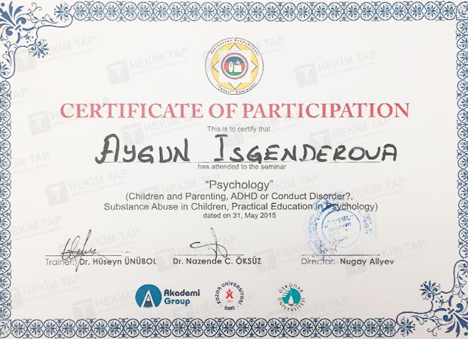 Dimplomlar və sertifikatlar Aygün İsgəndərova hekimtap.az