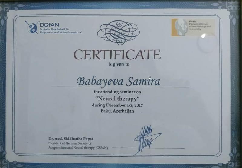 Dimplomlar və sertifikatlar Samira Babayeva hekimtap.az