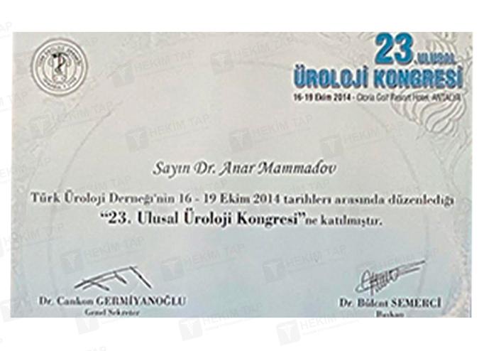 Dimplomlar və sertifikatlar Anar Məmmədov hekimtap.az