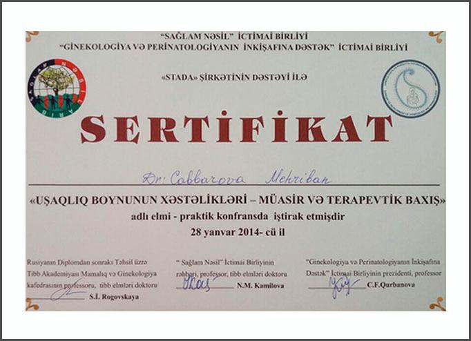 Dimplomlar və sertifikatlar Mehriban Cabbarova hekimtap.az
