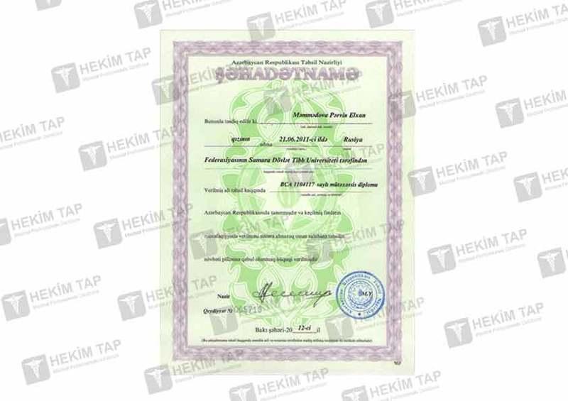 Diplomas and Certificates Pervin Sadiqzade hekimtap.az