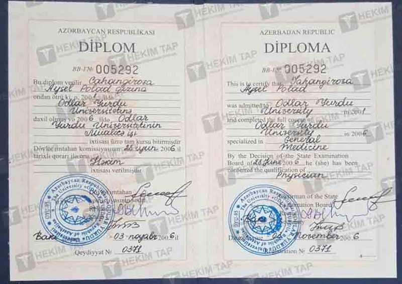 Dimplomlar və sertifikatlar Aysel Cahangirova  hekimtap.az
