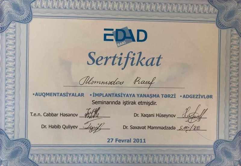 Дипломы и сертификаты Rauf Məmmədov hekimtap.az