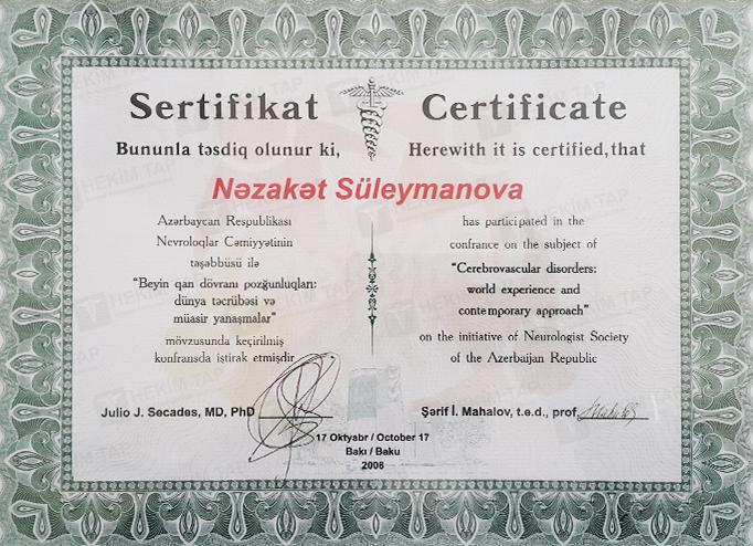 Dimplomlar və sertifikatlar Nəzakət Süleymanova hekimtap.az