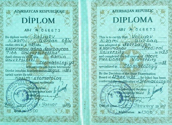 Dimplomlar və sertifikatlar Nizami Vəliyev hekimtap.az