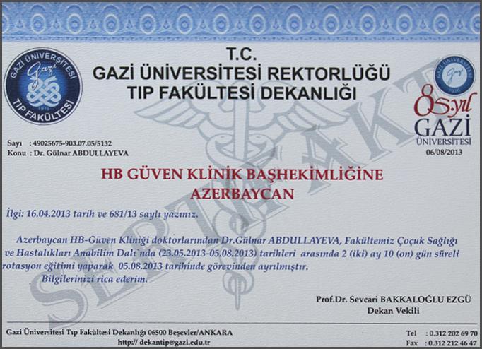Diplomas and Certificates Gulnar  Abdullayeva hekimtap.az