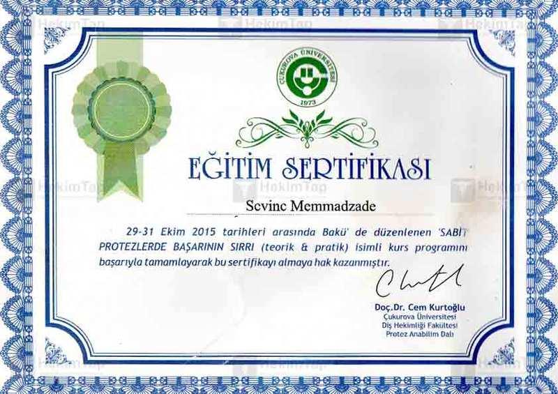 Dimplomlar və sertifikatlar Sevinc Məmmədzadə hekimtap.az