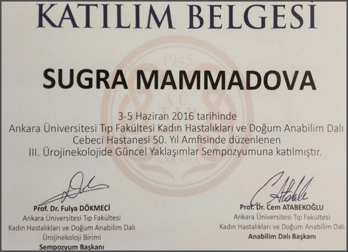 Dimplomlar və sertifikatlar Suqra Hüseynova hekimtap.az